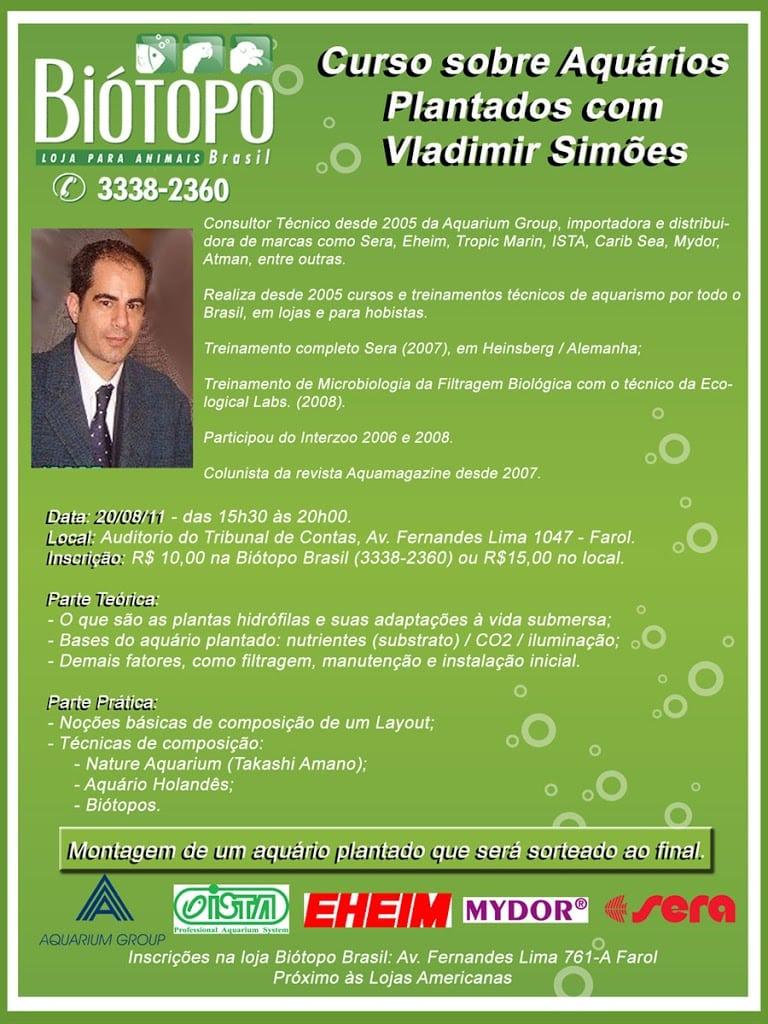 Curso Bi 25C3 25B3topo Brasil Vladimir Simoes • Curso de aquário plantado com Vladimir Simões em Alagoas.