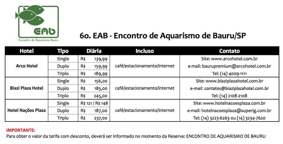 hotel 6º Encontro de Aquarismo de Bauru - 2012