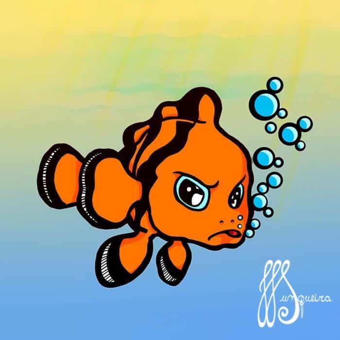 Ilustração de Jomer Junqueira - peixe palhaço