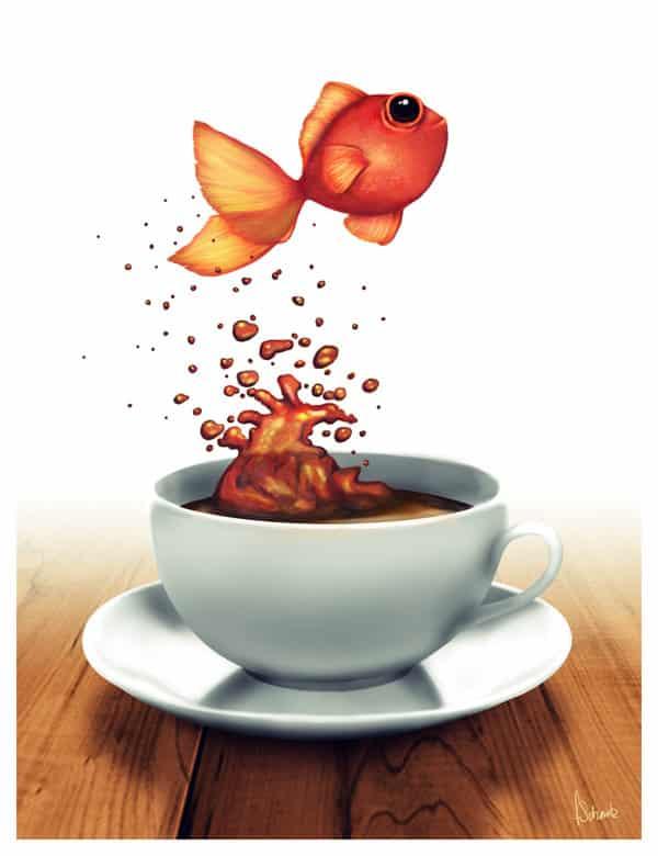 """""""Coffee Cup Fish"""" por Frederike Schmitz."""