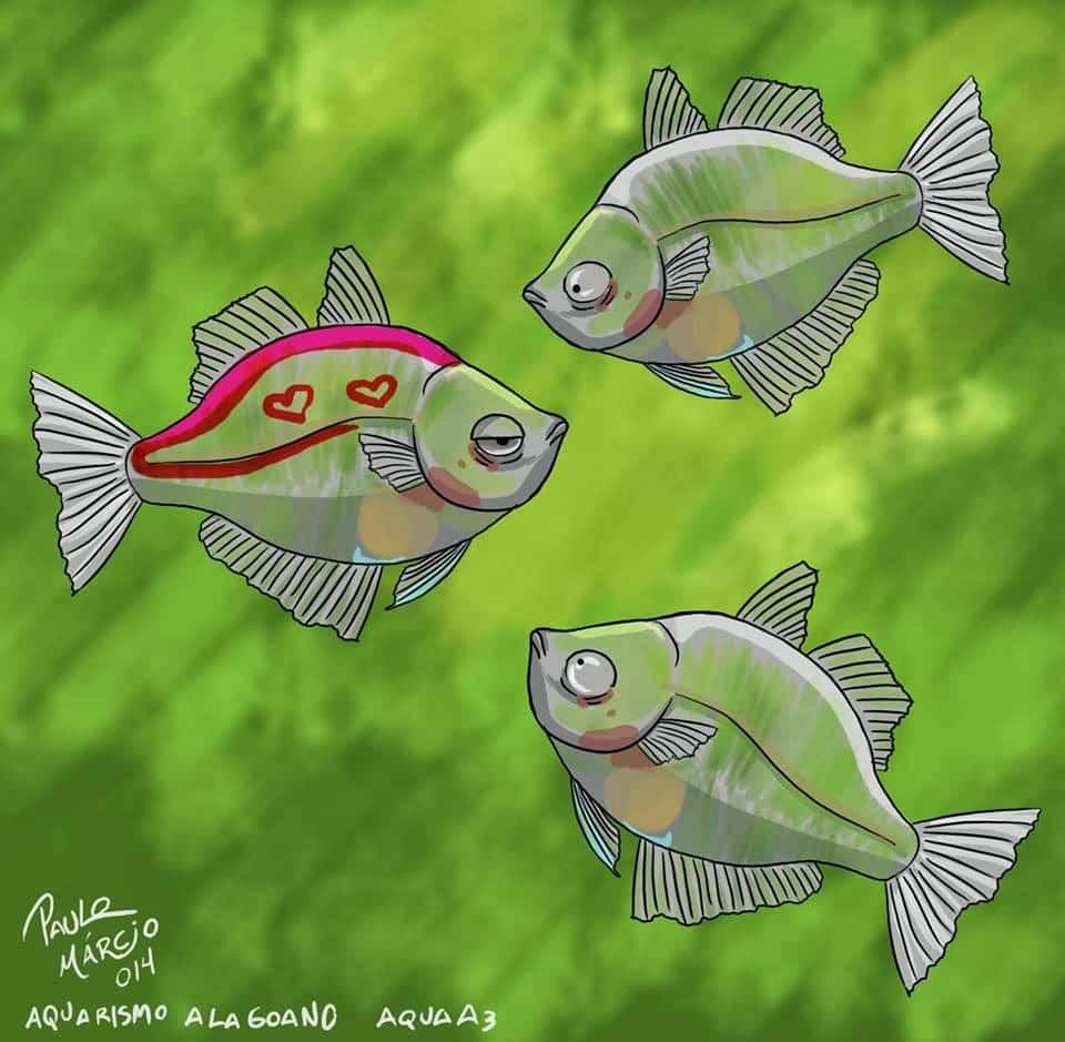 Arte Peixes tingidos ou tatuados