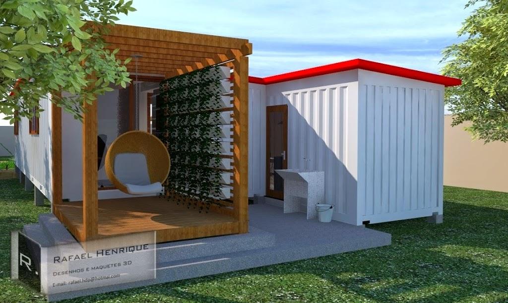 Projeto: Casa contêiner com lago