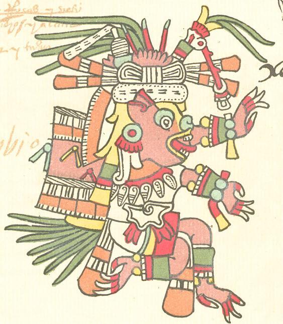 Xolotldeus asteca, encarnado como uma salamandra Ambystoma mexicanum, que recebeu seu nome popular (Axolote).