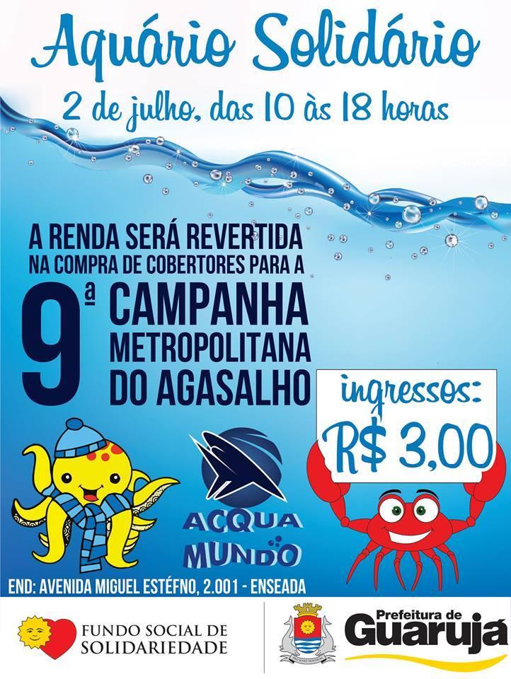 """O Acqua Mundo em Guarujá promove """"Aquário Solidário"""", ingressos à 3 reais."""