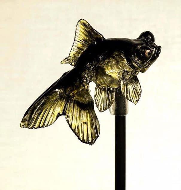 pirulitos realísticos de animais que esta artista japonesa faz