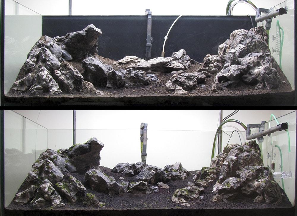 Mudança de hardscape do aquário Thunder Valley Mountain