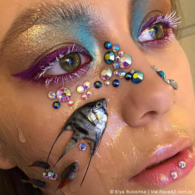 Elya Bulochka causa indignação após o uso de peixes ornamentais mortos nos rostos