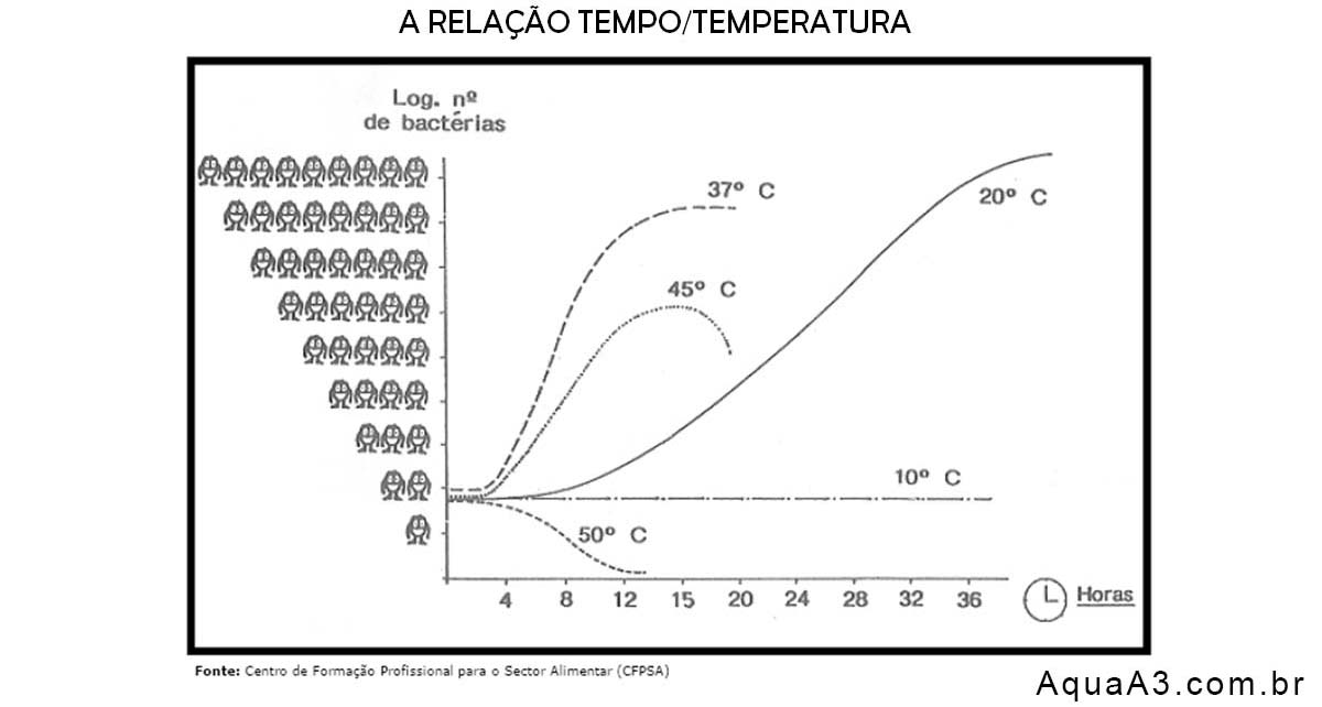 Curvas de desenvolvimento bacteriano a várias temperaturas