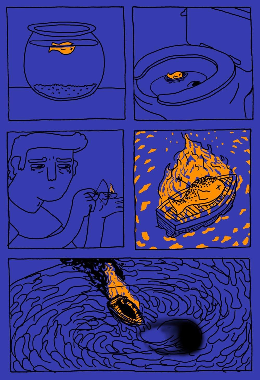 Funeraln viking para o Peixe Dourado
