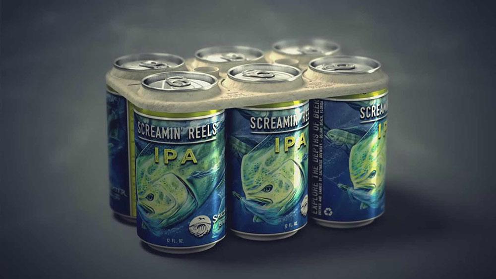 Cervejaria cria embalagem comestivel que alimentam seres marinhos