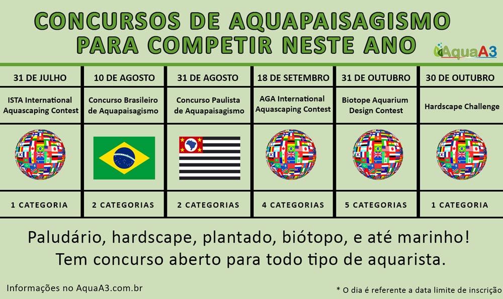 Calendário de concursos de aquapaisagismo para competir neste ano