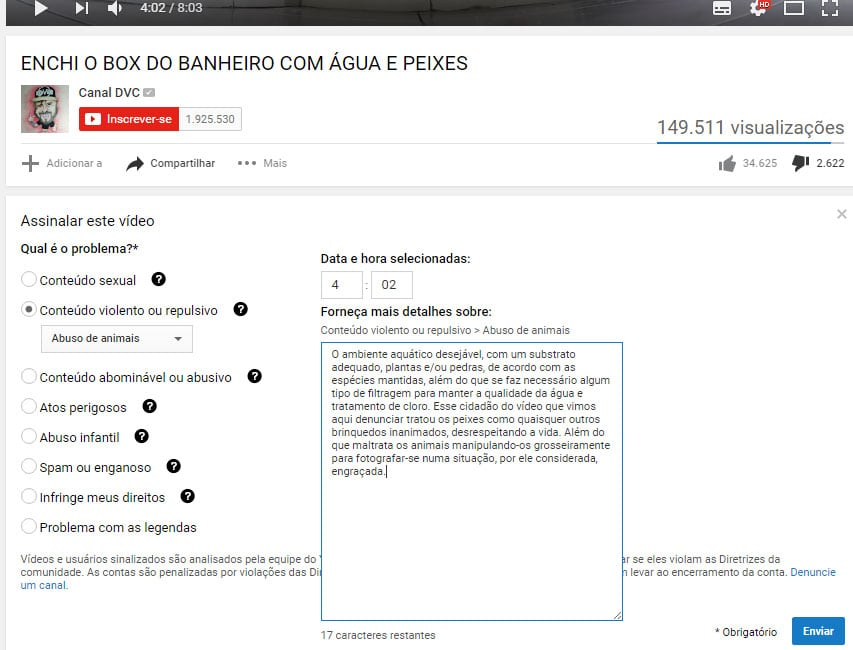 como denunciar no Youtube por abuso de animais.