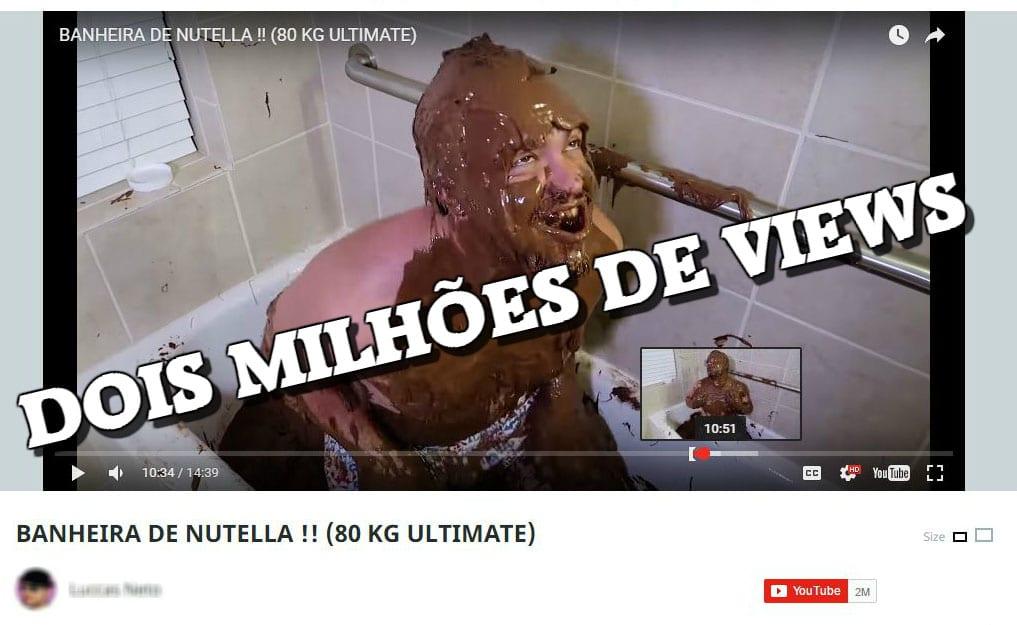 Banho de nutella no Youtube