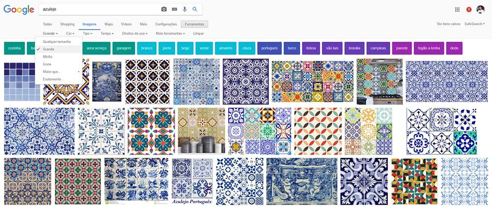 Busque no Google imagens o termo azulejo