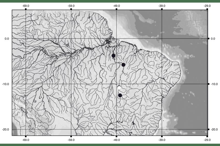 Distribuição geográfica do Pseudacanthicus major.
