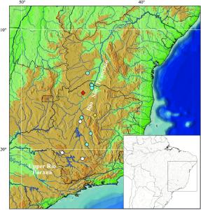 Mapa da bacia do Rio São Francisco monstrado a distribuição da espécie