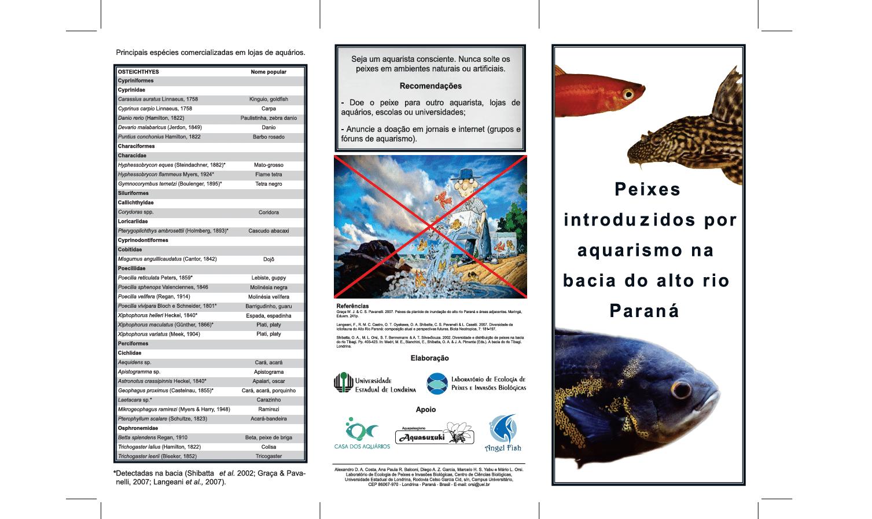 Folder informativo sobre peixes introduzidos em habitat natural